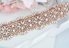 Wedding Bridal Sash Belt, ROSE GOLD Crystal Pearl Wedding Sash Belt = 18 INCHES