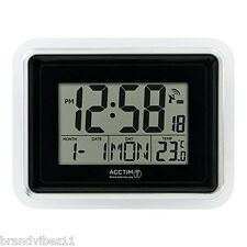 Acctim Delta Radio Controlled Digital LCD Black Alarm Wall Clock – 74573