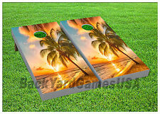 VINYL WRAPS Cornhole Boards DECALS Sunset on the Beach BagToss Game Stickers 711