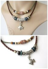 NEW Leather Hemp Tibetan Silver Pendant Charm Necklace Choker Tribal Vintage