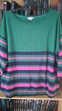 Boden ladies green-multi stripe 34 sleeve top, size 20