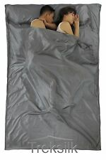 TREKSILK Grey Double Silk Liner Sleeping Bag Couple Travel Sheet Sack
