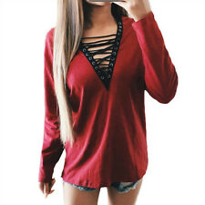 Women Loose Long Sleeve Deep V-Neck T-Shirt Tee Tie Lace Up Tops Pullover Blouse