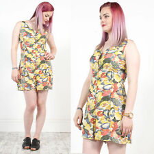VINTAGE 90'S HENNES YELLOW FRUIT PATTERN SCOOP NECK BUTTON FRONT PLAYSUIT 12
