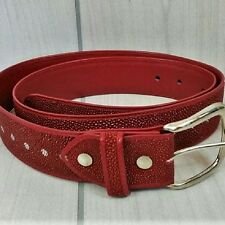 Belt Genuine Stingray Leather Red Natural Pattern Silver Tone Buckle Size 34 NEW