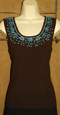 BELLDINI - Dark Brown - Rayon Ribbed - Turquoise Pebble / Beaded BLOUSE sz XL