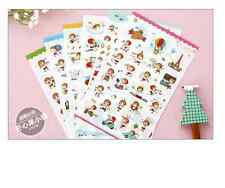 2 sets 12 sheets Korean deco PVC stickers  adhesive journal Diary girl RED HAT