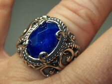 STERLING SILVER 925 CAROLYN POLLACK BLUE LAPIS CRYSTAL QUARTZ SCROLL RING SIZE 7