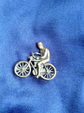 EDWARDIAN BRASS CYCLIST BICYCLE LAPEL BADGE - BEAUTIFUL EXAMPLE - VERY RARE!