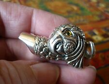 Solid sterling silver working MACAW PARROT WHISTLE with glass eyes