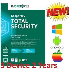 NEW Kaspersky TOTAL SECURITY 3 PC 2 Year Windows Android iOS Mac CD Key ONLY