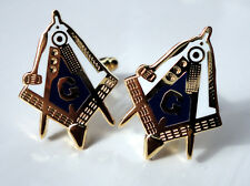 ZP26b Freemason Masonic Masons Cufflinks Geometry Square Compass with G