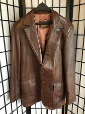 David James Men's Size 46 R Brown 2 Button Western Cut Leather Jacket Coat