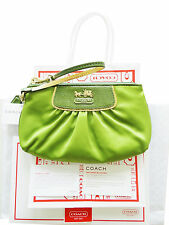 NEW WITH TAG COACH GREEN SATIN BAG DESIGNER LIMITED EDITION 100% AUTHENTIC