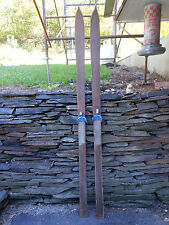 """VINTAGE POINTED Wooden Skis 76"""" Long With  Bindings + Line Design"""
