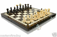 Stunning PEARL XL Hand Crafted Large Wooden Chess Set 42 x 42cm