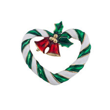 Lux Accessories Holiday Christmas Xmas Wreath Church Bells Holly Brooch Pin