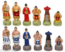 Chess Set Pieces Japanese Sumo Wrestlers NIB