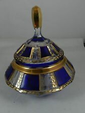 Moser Cobalt Blue Gold Cut to Clear Covered Urn Jar Crystal Bohemian Germany