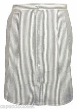 Tommy Hilfiger Womens Skirt Button Front A-Line Striped Grey White 10 NEW $69.50