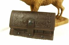 Leather Shell Cartridge Holder, pouch for belt, ammunition, hunting, embossed D