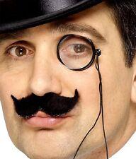 Herren Smiffys Kostüm Monokel mit Glas & Schnur Schwarz Neu