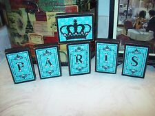 Shabby SMALL teal PARIS decor blocks sign Crown FRENCH chic vintage