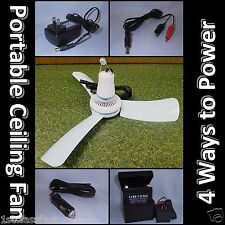 "16"" PORTABLE MINI CEILING FAN W RECHARGEABLE BATTERY, 12V DC CAR, & AC ADAPTERS"