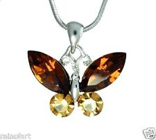 W Swarovski Crystal BUTTERFLY Topaz Color Charm Wings Pendant Necklace Winx Gift