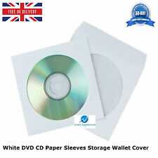 200 pcs White DVD CD Paper Sleeves Storage Wallet Cover Case With Window & Flap