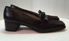 Salvatore Ferragamo Womens Brown Leather Loafer Heels Shoe Size 9.5 2 A