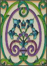 """Cross Stitch Chart ART DECO STAINED GLASS ABSTRACT """"FLEUR-DE-LYS"""" - No. 33-102"""