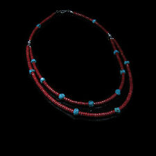 .925 Sterling Silver Natural Turquoise Nugget Italian Red Coral  2 Tier Necklace