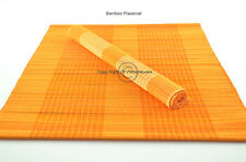 4 Handmade Bamboo Wood Placemats Table Mats, Sligh Defects, Orange, P049