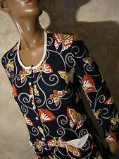 CHIC VINTAGE ROBE 1970 PAPILLONS VTG DRESS 70s BUTTERFLY KLEID 70er (36/38)