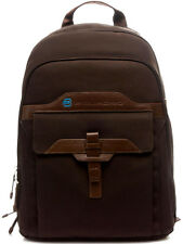 BackPack Man Woman Leather e Fabrics Dark Brown Piquadro Bag Men T