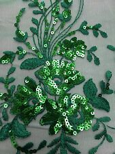 Apple Green Detailed Lace Sequins Fabric Scalloped Edges Fabric Sold By The Yard
