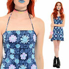 Vtg 90s Floral HALTER Bodycon Stretch Clueless Grunge Club-Kid Rave Mini Dress M
