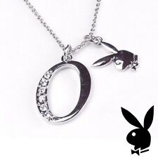 Playboy Necklace Initial Letter O Pendant Bunny Charm Crystals Platinum Plated
