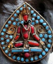 Vintage Tibetan Nepal Buddha Brooch Pin Turquoise Coral Brass Signed