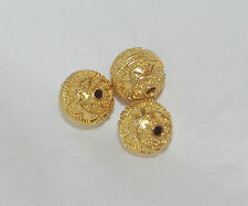 ONE (1) - BALINESE HAND-CRAFTED 22K SOLID YELLOW GOLD GRANULATED ROUND BEAD 8MM