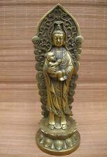 Chinese Buddhism largess SongZi Boy GuanYin Brass Copper Kwan-Yin Statue