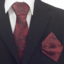 Mens Burgundy Red  Paisley Silk Woven Tie+Hanky & Cufflinks Matching Set CR004