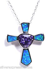 2 Carat Amethyst & Blue Fire Opal 925 silver cross pendant With Necklace 18''