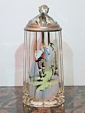 Antique 1/2L Glass German Beer Stein with Faceted Prism Glass inlay Lid
