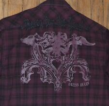 Men's GUESS Long Sleeve Snap Up Front MERCY FOR THE YOUTH Embroidered on Back