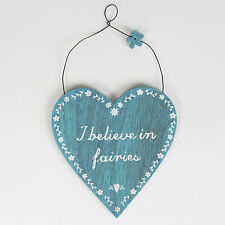 Rustic Wooden I Believe In Fairies Hanging Heart Plaque Sign Shabby Chic Gift
