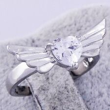 White Gold Womens Angel's Wing heart Cubic Zirconia Ring size 7