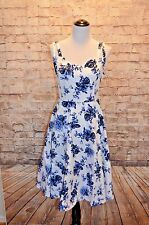 Modcloth Hearts & Roses swing Dress NWT Floral 12 fits 14  blue/white  H&R
