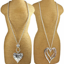 Two large lagenlook silver chunky heart pendant fashion jewellery long necklace